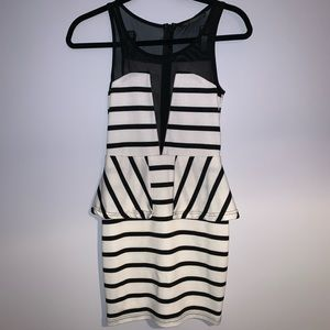 La Reyna Stripe Black White Sleeveless Sheer Dress